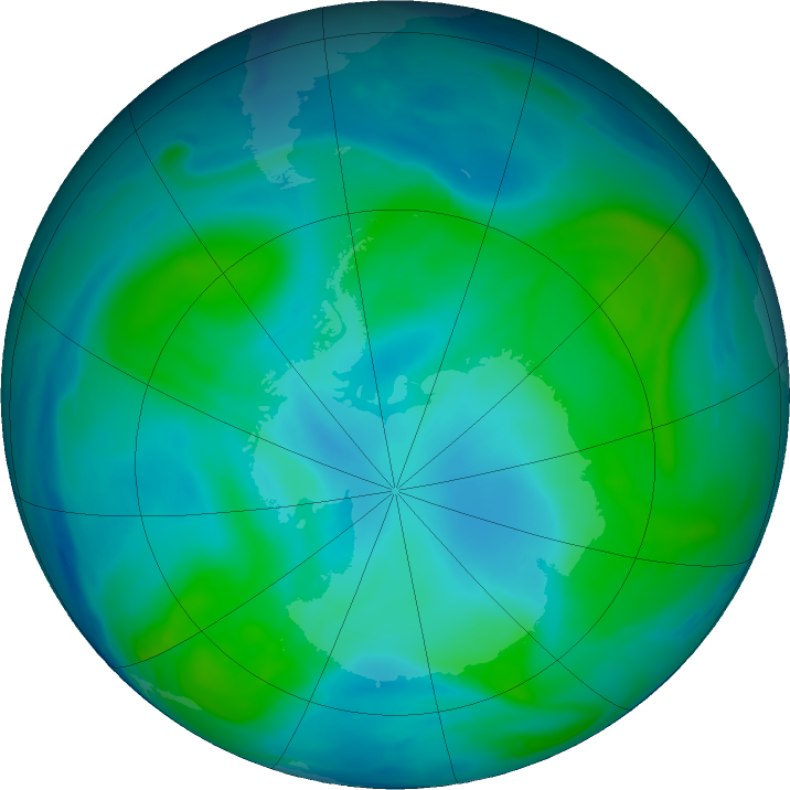 Antarctic ozone map for 05 February 2018
