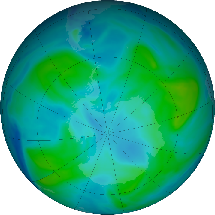 Antarctic ozone map for 06 February 2018
