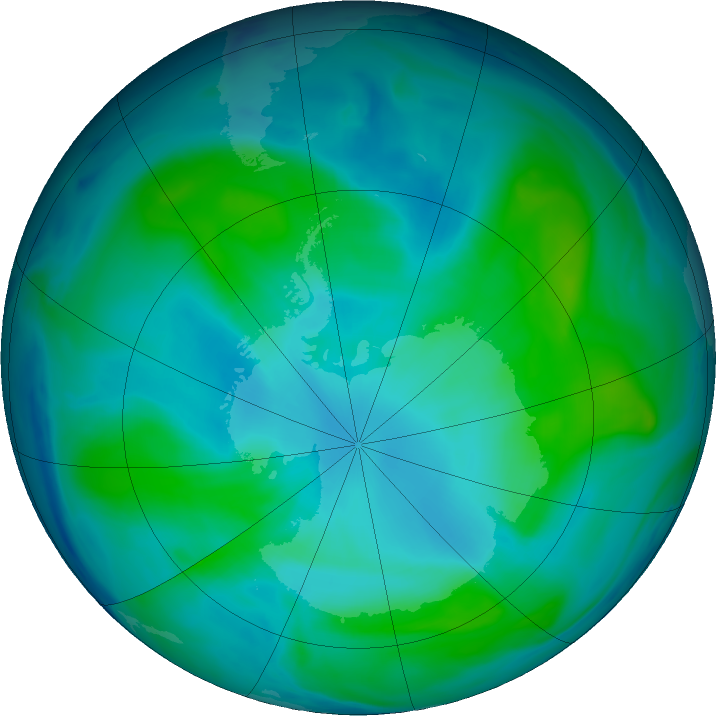 Antarctic ozone map for 07 February 2018