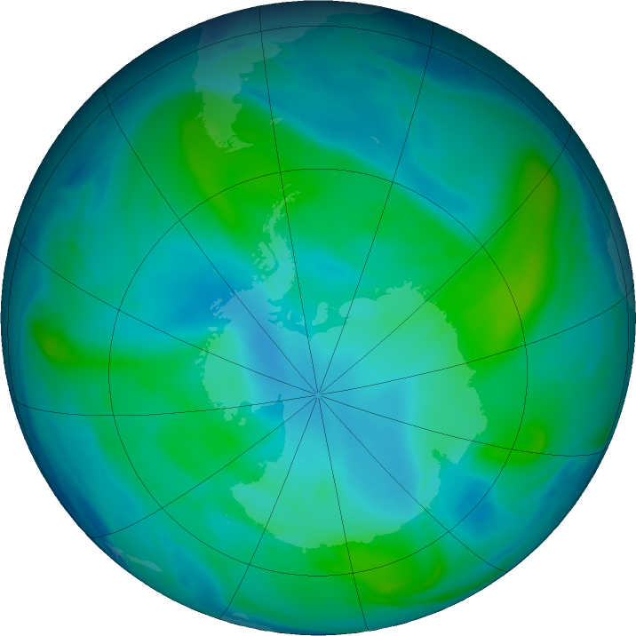 Antarctic ozone map for 08 February 2018
