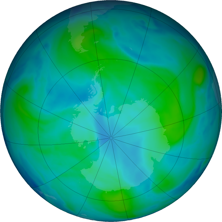 Antarctic ozone map for 09 February 2018