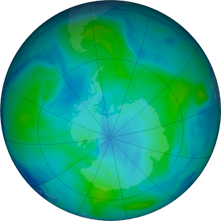 Antarctic ozone map for 10 February 2018