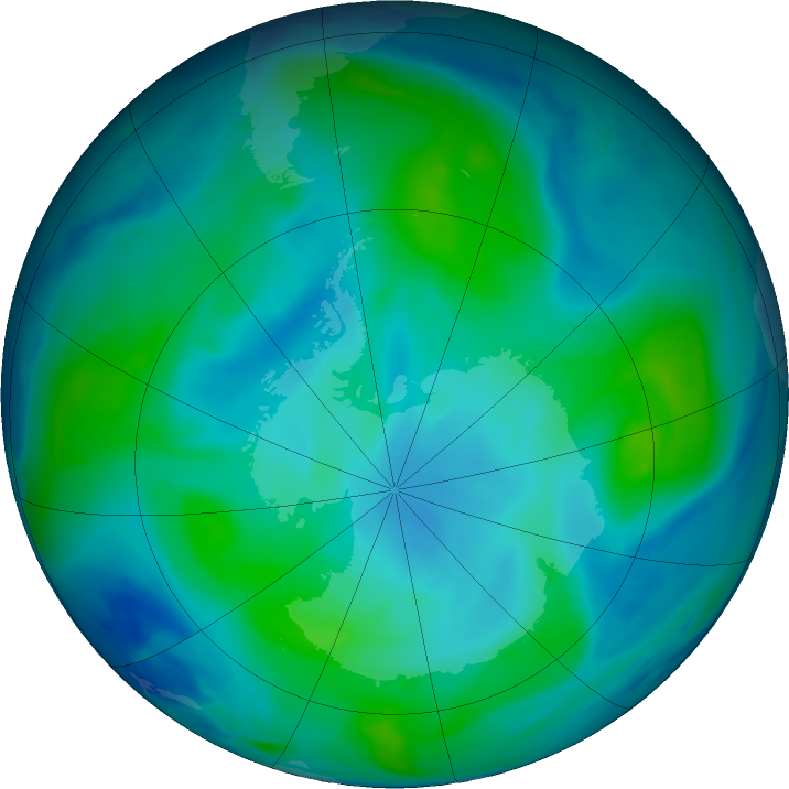 Antarctic ozone map for 11 February 2018