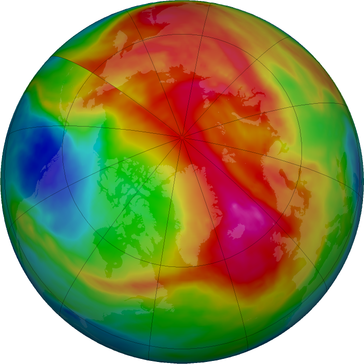 Arctic ozone map for 12 February 2018