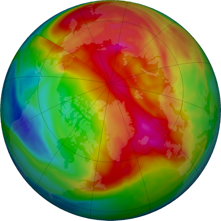 Arctic ozone map for 13 February 2018