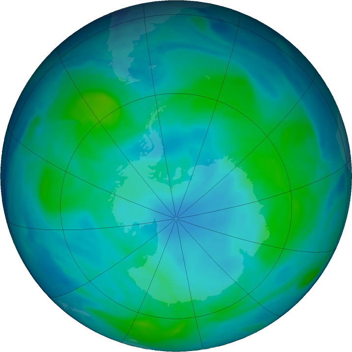 Antarctic ozone map for 15 February 2018