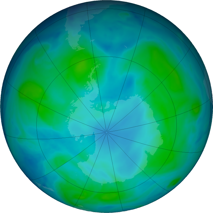 Antarctic ozone map for 16 February 2018