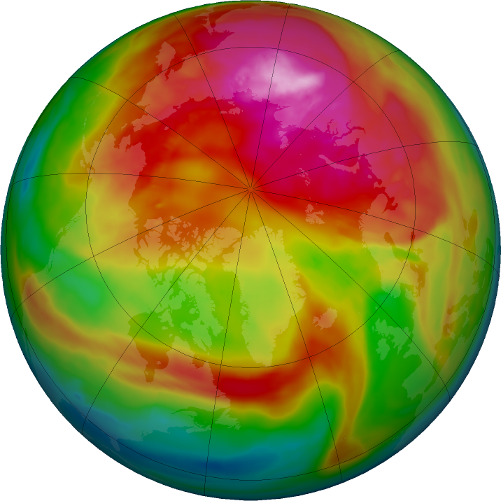 Arctic ozone map for 22 February 2018