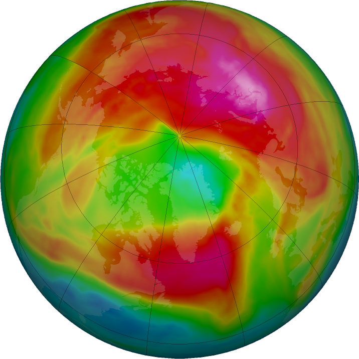 Arctic ozone map for 24 February 2018