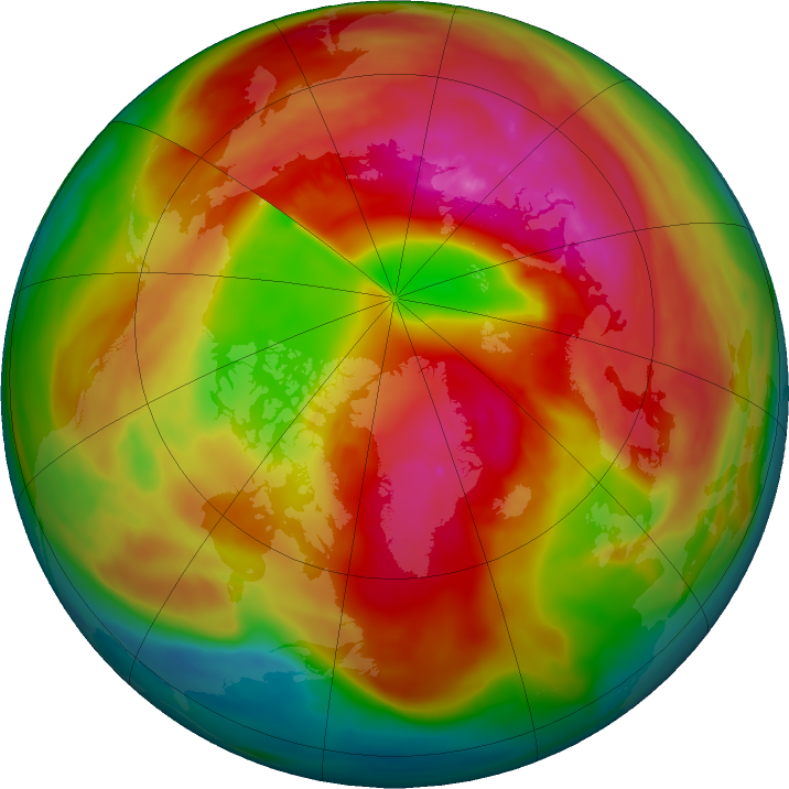 Arctic ozone map for 25 February 2018