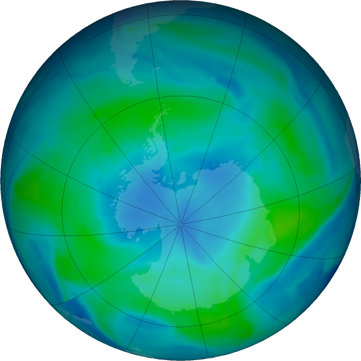 Antarctic ozone map for 25 February 2018