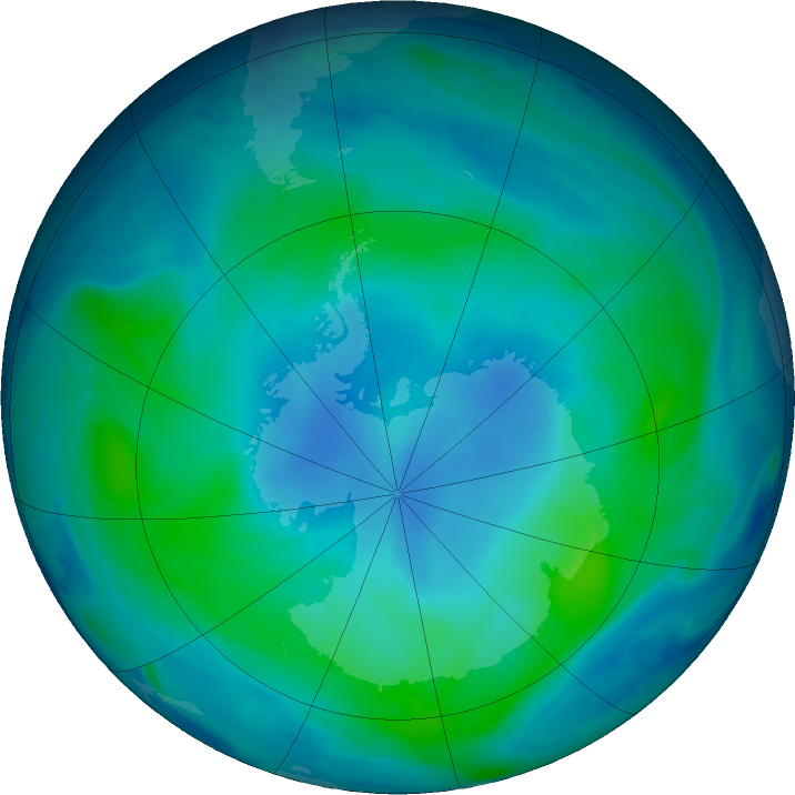 Antarctic ozone map for 26 February 2018