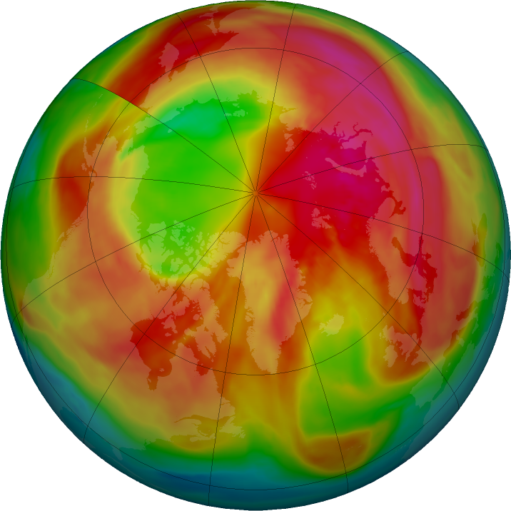 Arctic ozone map for 27 February 2018