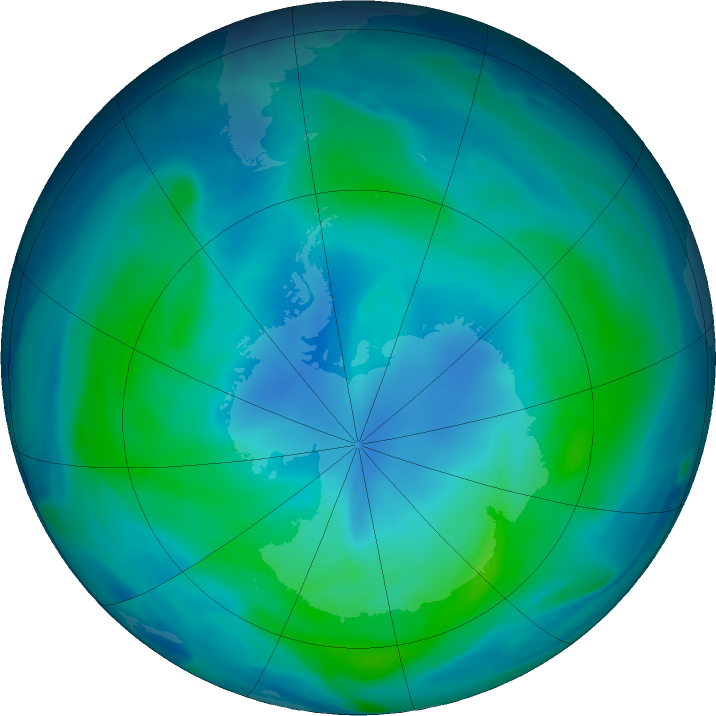 Antarctic ozone map for 27 February 2018