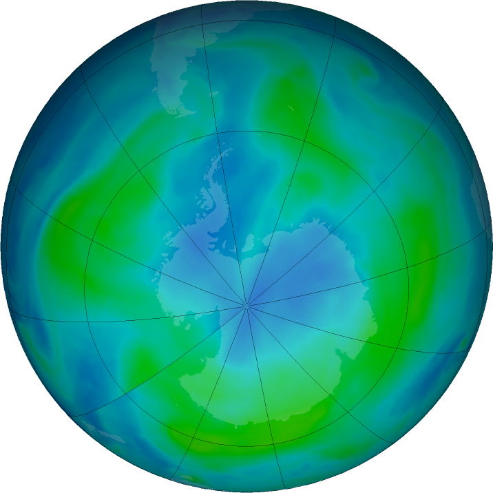Antarctic ozone map for 28 February 2018