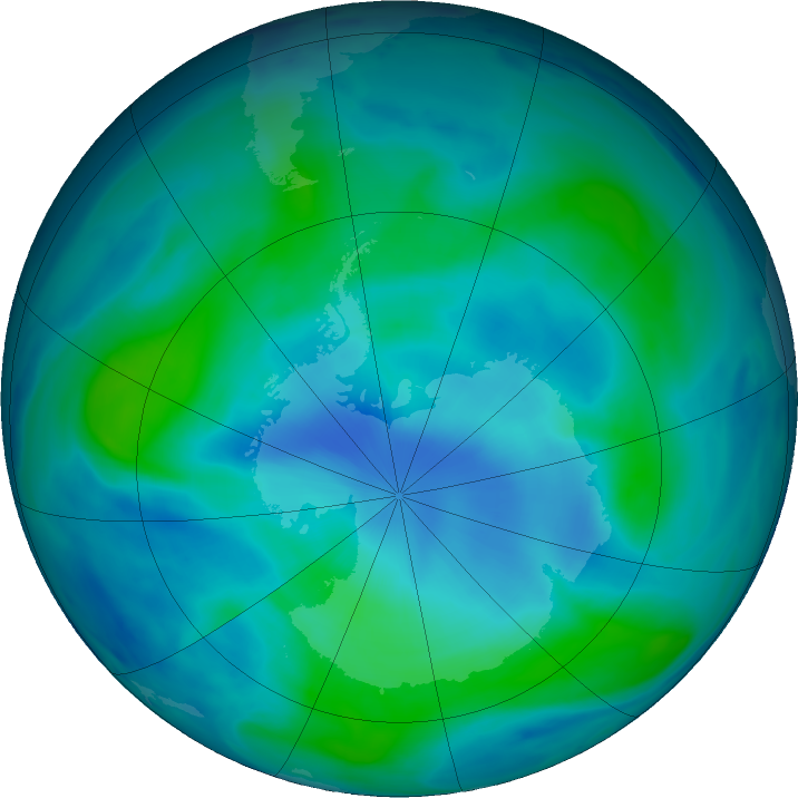Antarctic ozone map for 04 March 2018