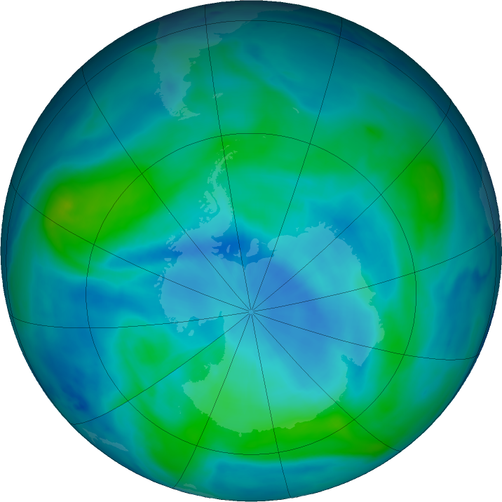 Antarctic ozone map for 05 March 2018