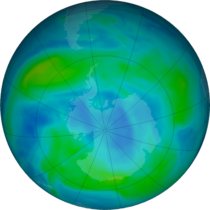 Antarctic ozone map for 06 March 2018