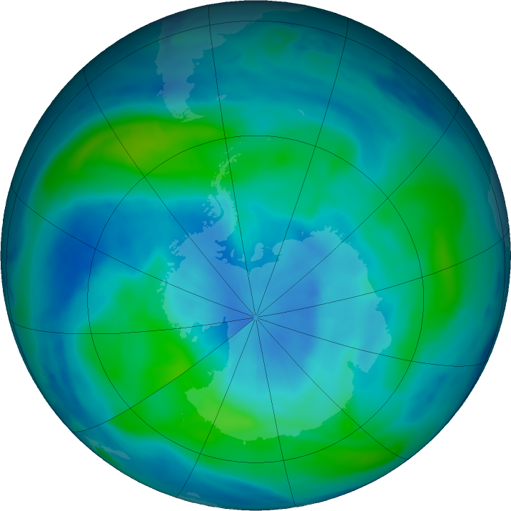 Antarctic ozone map for 07 March 2018