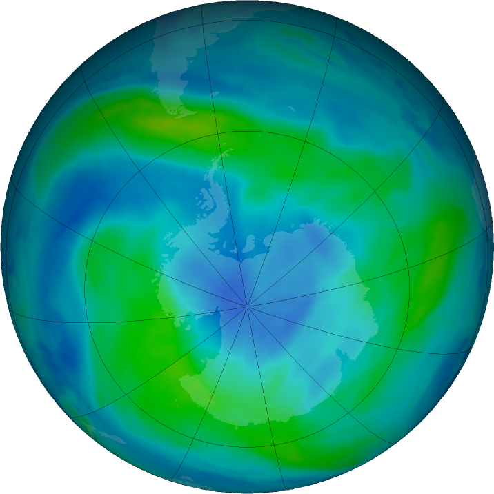 Antarctic ozone map for 08 March 2018
