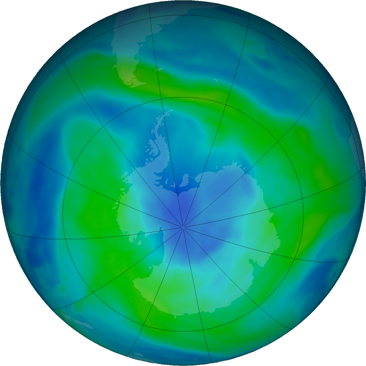 Antarctic ozone map for 09 March 2018