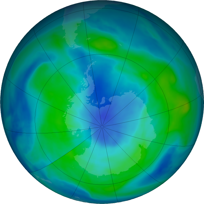 Antarctic ozone map for 10 March 2018