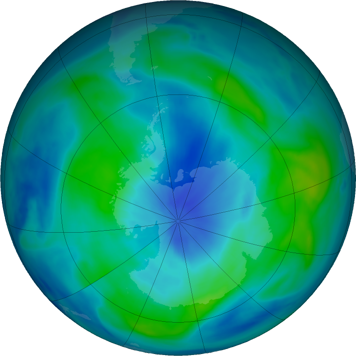 Antarctic ozone map for 11 March 2018