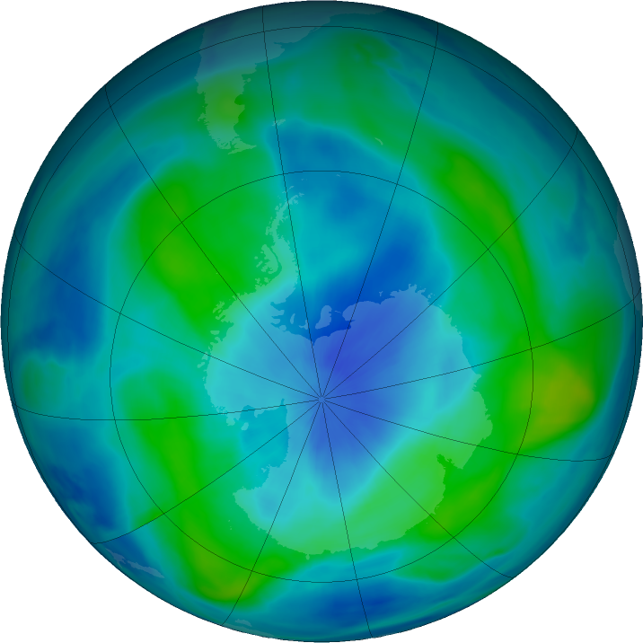 Antarctic ozone map for 12 March 2018