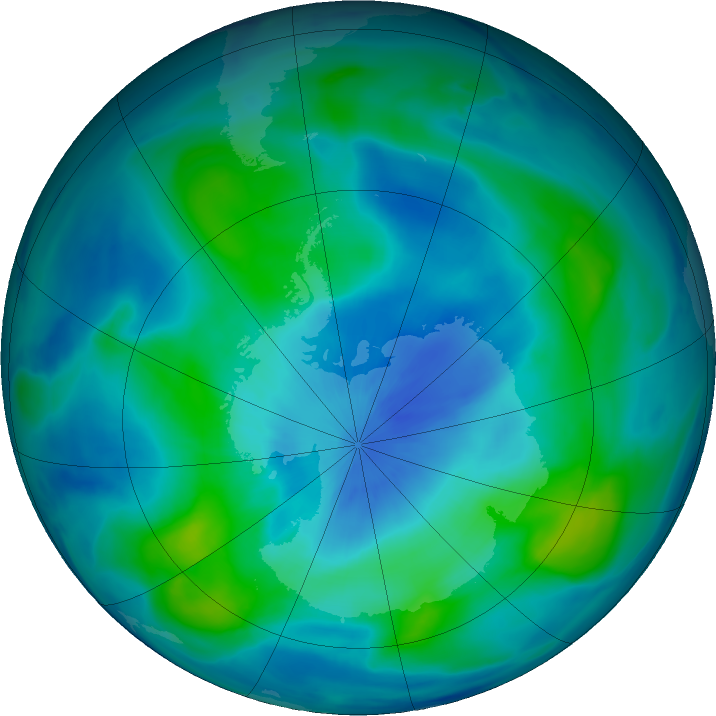 Antarctic ozone map for 13 March 2018