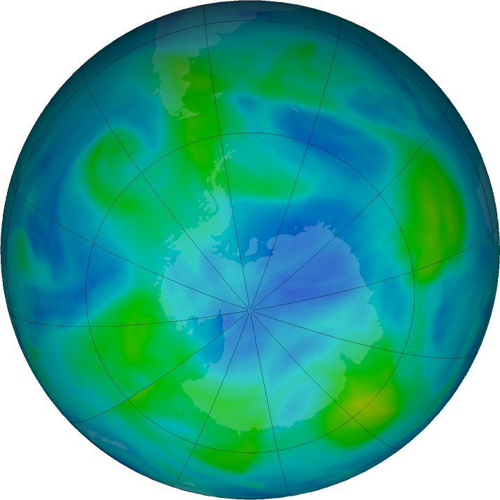 Antarctic ozone map for 14 March 2018