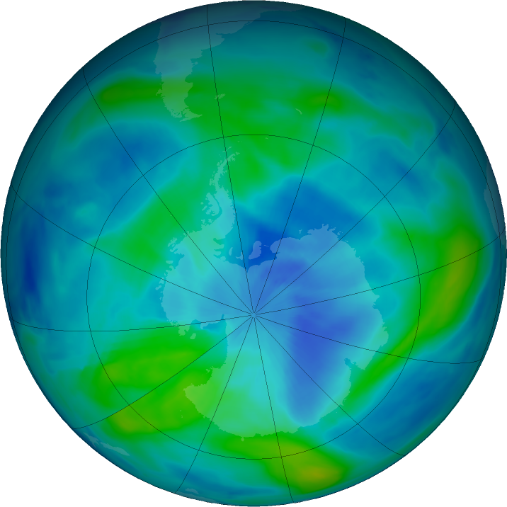 Antarctic ozone map for 16 March 2018