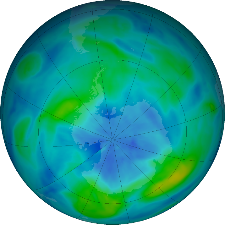 Antarctic ozone map for 19 March 2018