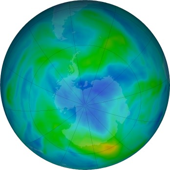 Antarctic ozone map for 2018-03-21