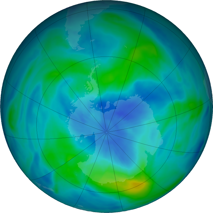 Antarctic ozone map for 21 March 2018