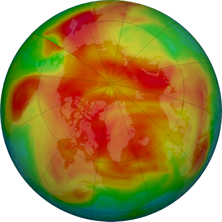 Arctic ozone map for 22 March 2018