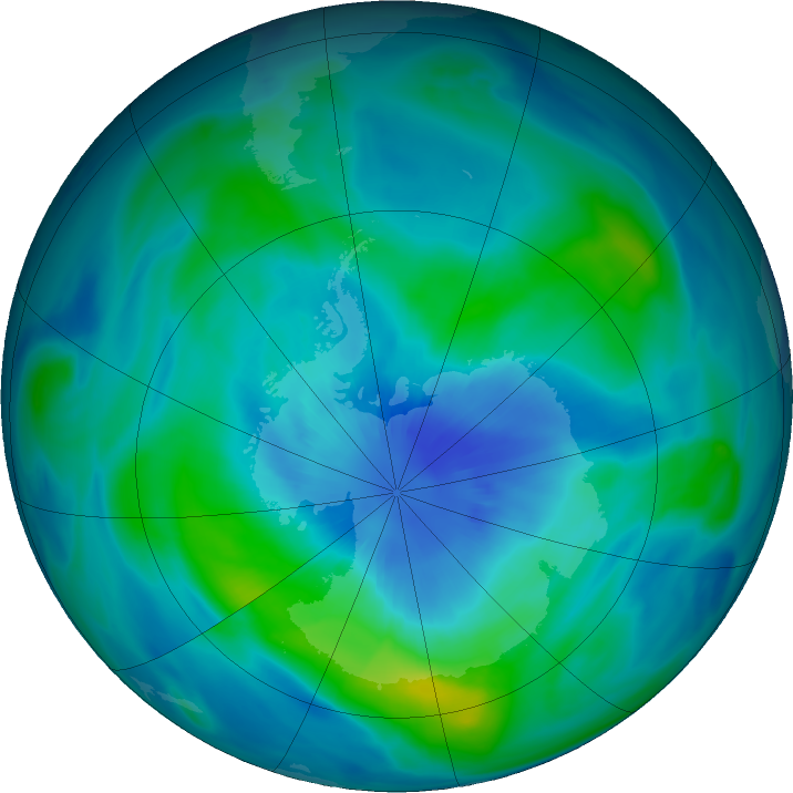 Antarctic ozone map for 22 March 2018