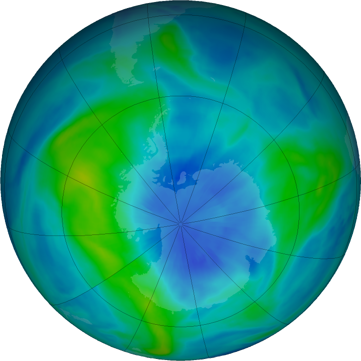 Antarctic ozone map for 25 March 2018