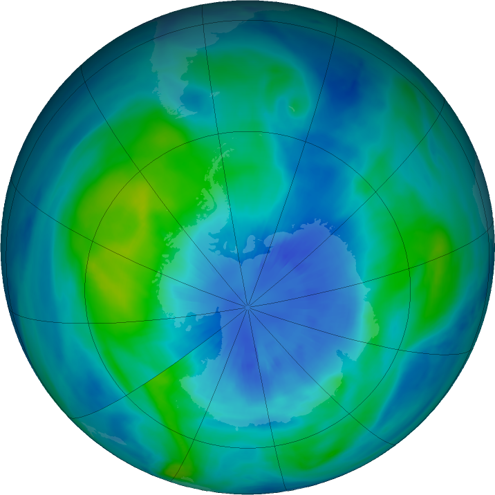 Antarctic ozone map for 26 March 2018