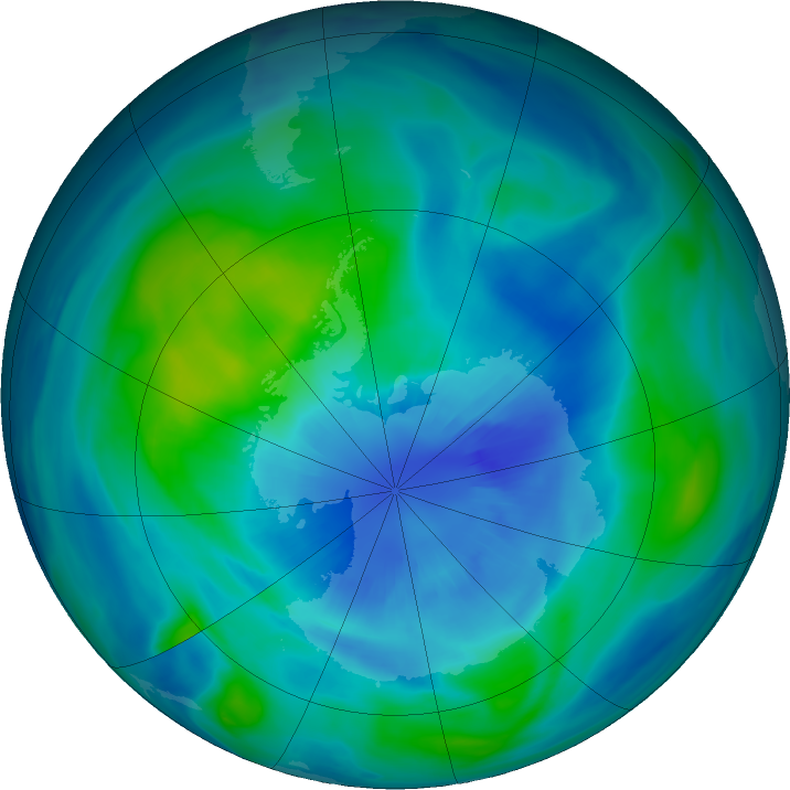 Antarctic ozone map for 27 March 2018