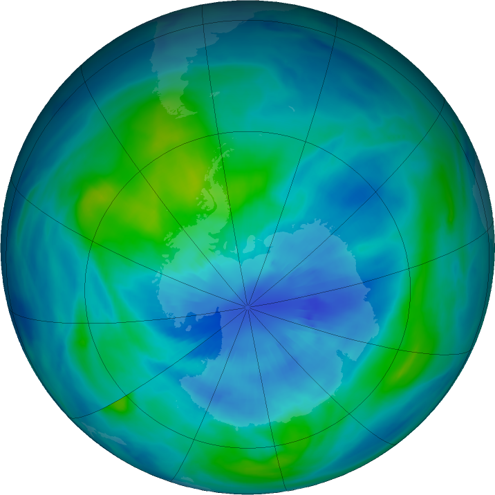 Antarctic ozone map for 28 March 2018
