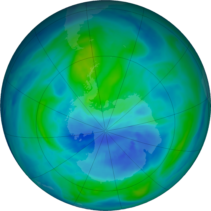 Antarctic ozone map for 30 March 2018