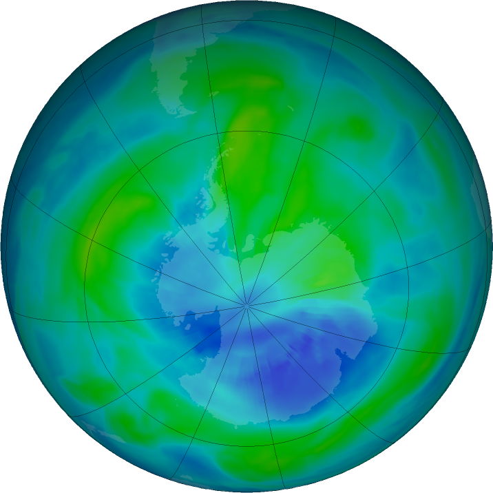 Antarctic ozone map for 31 March 2018