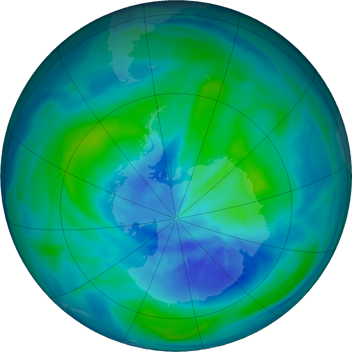 Antarctic ozone map for 01 April 2018