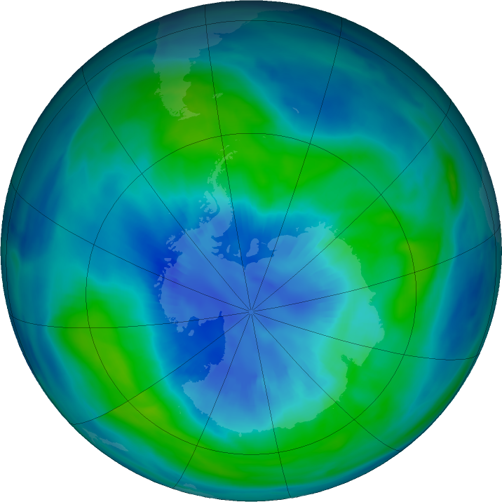 Antarctic ozone map for 05 April 2018
