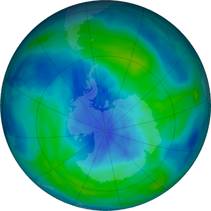 Antarctic ozone map for 07 April 2018
