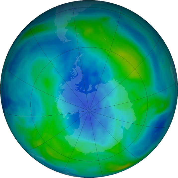 Antarctic ozone map for 08 April 2018
