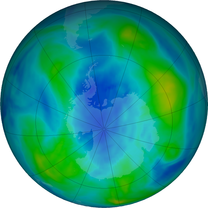 Antarctic ozone map for 09 April 2018