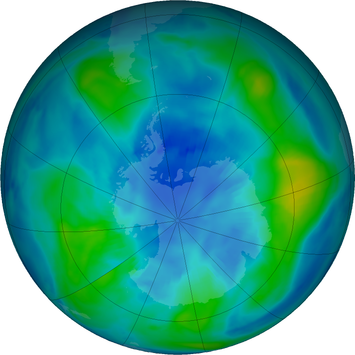 Antarctic ozone map for 10 April 2018