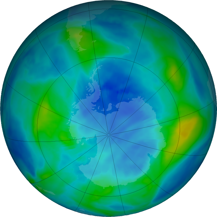 Antarctic ozone map for 11 April 2018