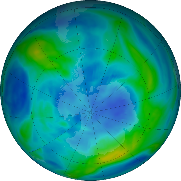 Antarctic ozone map for 14 April 2018
